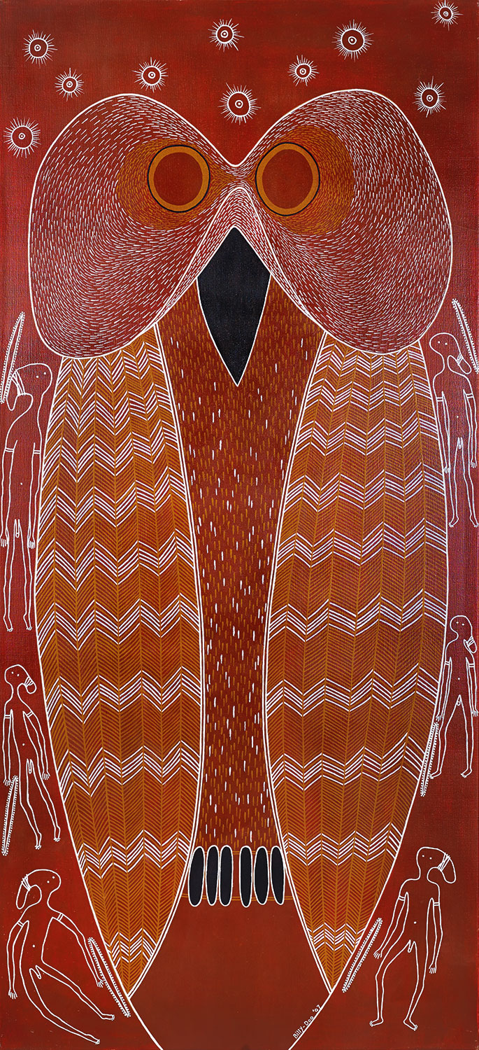 Billy Doolan, Mopoke Owl, 2009. 91 x 198cm, Acrylic on canvas