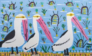 Trevor 'Turbo' Brown Happy Pelicans, 2008 199 x 121cm, Acrylic on linen