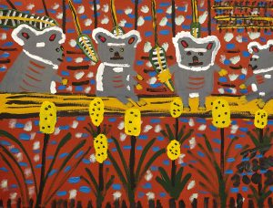 Trevor 'Turbo' Brown Happy Family of Koalas Picking Leaves, 2008 123 x 92cm, Acrylic on linen