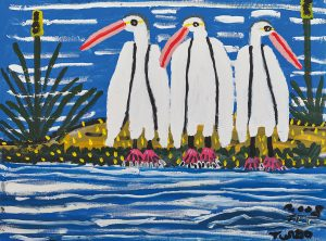 Trevor 'Turbo' Brown Sunshine Pelicans Getting Dry, 2008 123 x 92cm, Acrylic on linen