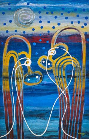 Fiona Omeenyo Spirit Connect, 2019 104 x 65cm, acrylic on canvas