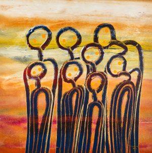 Fiona Omeenyo Gathering, 2017 107 x 107cm, acrylic on canvas