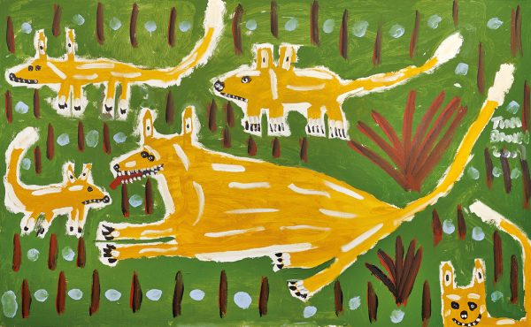Trevor 'Turbo' Brown Dingo Playing with its Young, 2009 199 x 121cm, Acrylic on linen