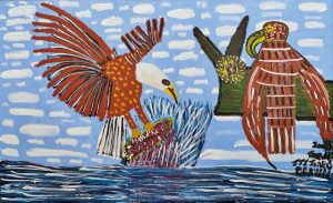 Trevor 'Turbo' Brown Eagle Catching Fish and Taking it to the Nest (Sea Eagle), 2009 199 x 122cm, Acrylic on linen