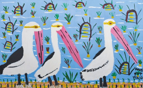 Trevor 'Turbo' Brown Happy Pelicans, 2008 199 x 121cm, Acrylic on linen