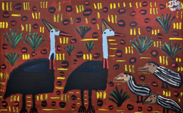 Trevor 'Turbo' Brown Blue-necked Birds with Babies (Cassowaries), 2008 199 x 121cm, Acrylic on linen