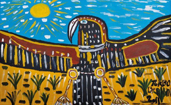 Trevor 'Turbo' Brown Bunjil in the Sun, 2011 199 x 121cm, Acrylic on linen