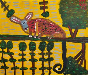 Trevor 'Turbo' Brown Lonely Possum Looking for Friends, 2008 107 x 92cm, Acrylic on linen