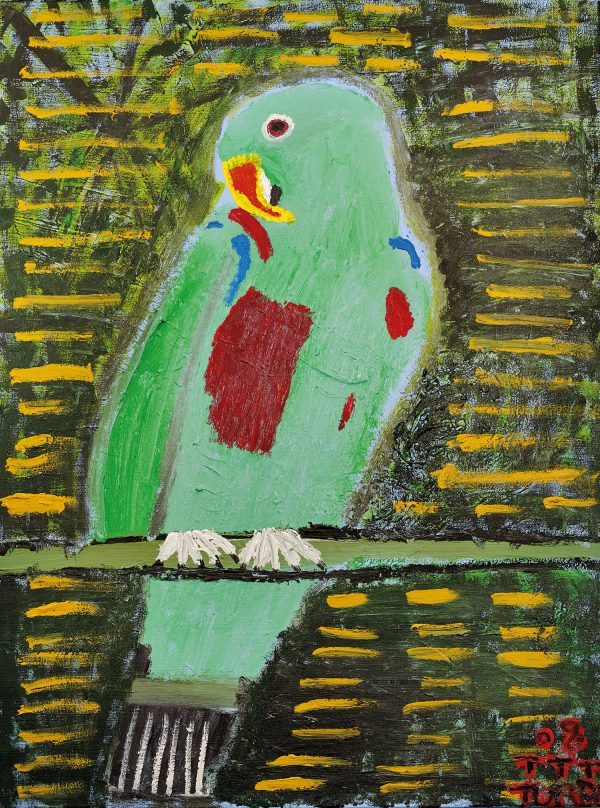 Trevor 'Turbo' Brown Bright Eyes Colourful Parrot, 2008 92 x 123cm, Acrylic on linen