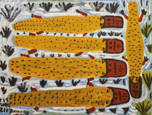 Trevor 'Turbo' Brown Family Platypus, 2008 123 x 92cm, Acrylic on linen