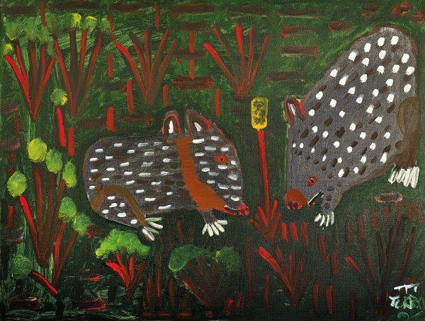 Trevor 'Turbo' Brown Wombats Looking for Breakfast, 2008 123 x 92cm, Acrylic on linen