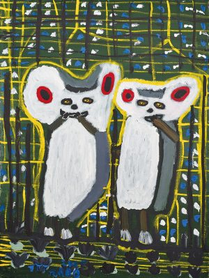 Trevor 'Turbo' Brown Having Dinner (Sugar Gliders), 2007 92 x 123cm, Acrylic on linen