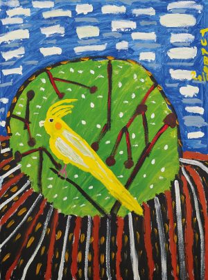 Trevor 'Turbo' Brown Bright Yellow Bird in Summertime, 2010 92 x 123cm, Acrylic on linen