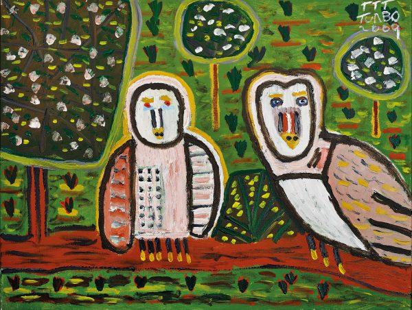 Trevor 'Turbo' Brown Spirit Daylight Owls in Springtime, 2009 123 x 92cm, Acrylic on linen