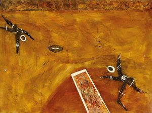 Craig Charles Possum Skin Football – First Team, 2008 183 x 137cm, Acrylic on linen